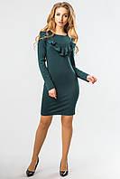 Модное женское облегающее темно-зеленое платье с длинным рукавом и рюшами спереди