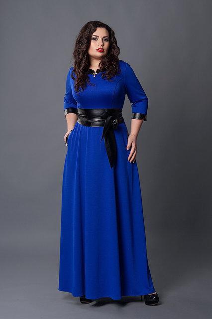 Длинное трикотажное платье с поясом. 3 цвета