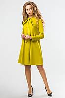 Желто-зеленое платье с завязками