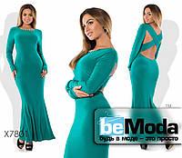 Нарядное женское длинное платье с украшением на спинке бирюзовое