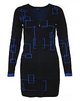 22860 Кардиган женский удлиненный черный на молнии Yu.k. by S.G.