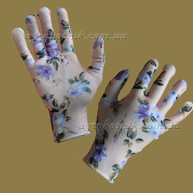 Перчатки женские с рисунком с ПВХ точкой