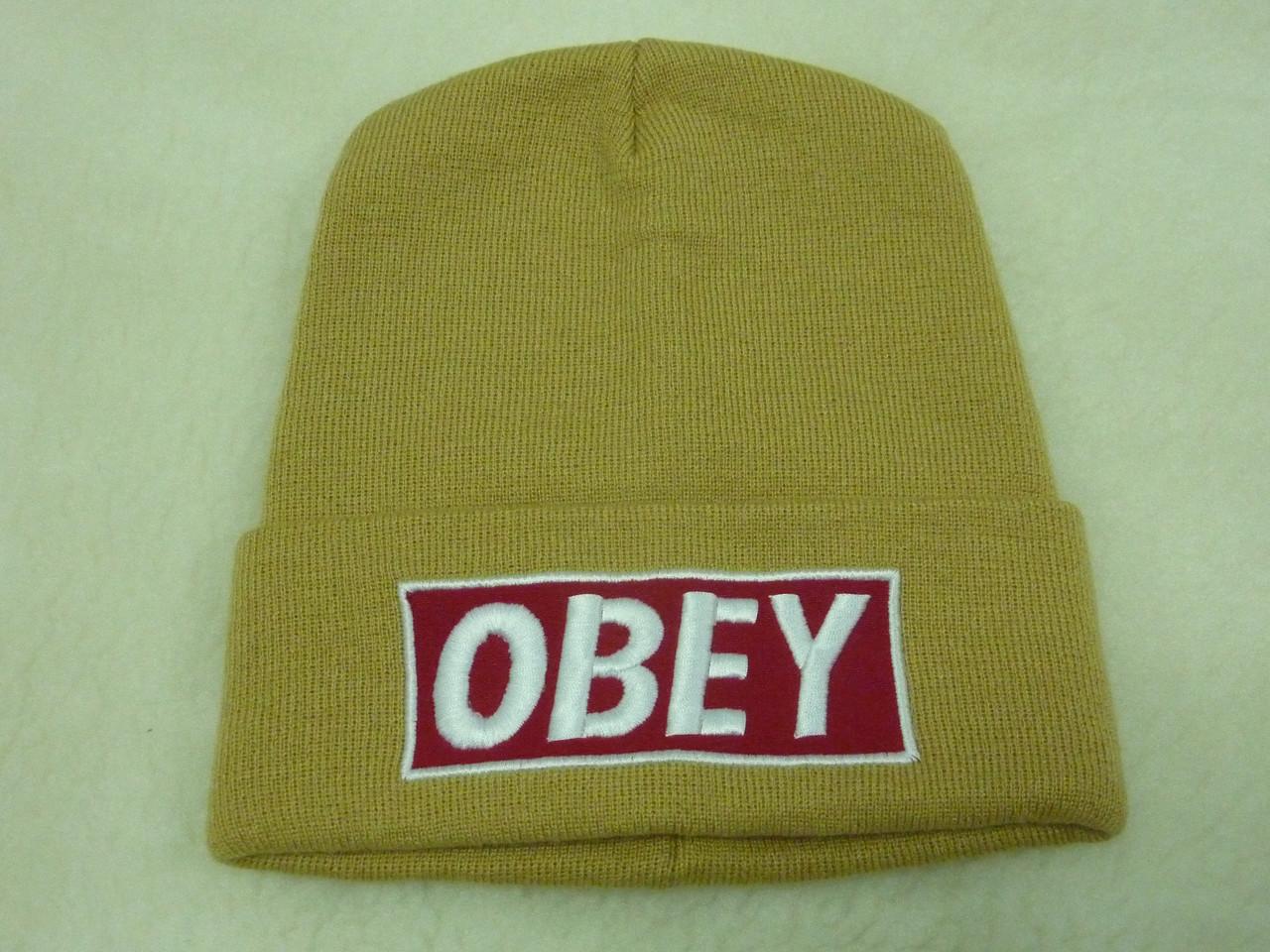 Двойная бежевая шапка OBEY, фото 1