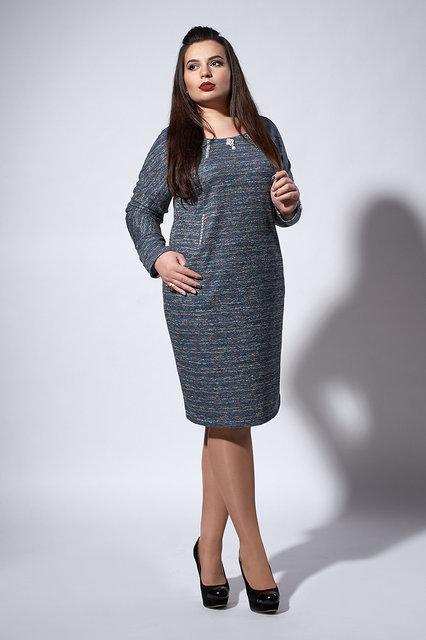 Стильное теплое платье. цвет меланжевый