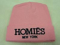 Розовая подростковая шапка
