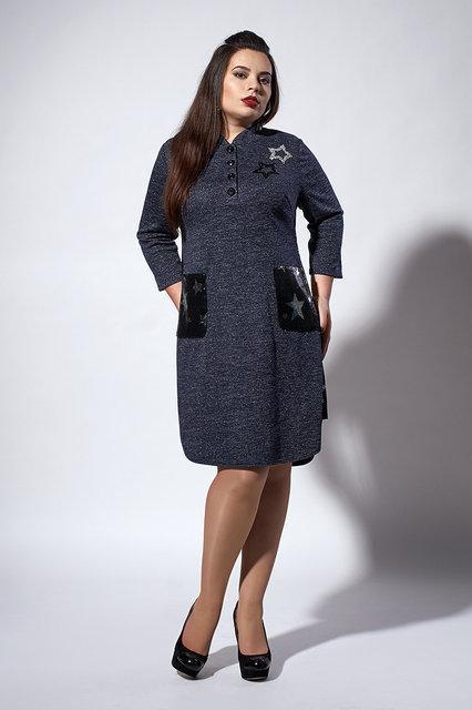 Трикотажное платье повседневного стиля. темно-синее
