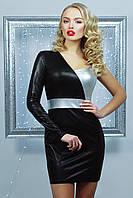 Красивое женское вечернее черное платье мини с одним рукавом серебристое Злата мини