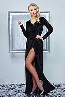 Красивое вечернее длинное велюровое платье на запах с разрезом от бедра, черное Нателла д/р