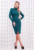 Шикарное женское вечернее зеленое платье миди на пуговицах спереди,с длинным рукавом Радана д/р