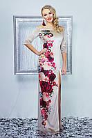 Длинное вечернее женское велюровое платье с цветами,открытыми плечами и разрезом от бедра,бежевое Цветана д/р