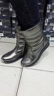 Женские кожаные сапоги дутики. Украина