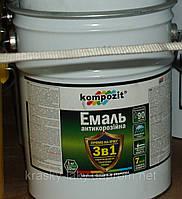 Эмаль антикоррозионная 3 в 1 Kompozit® черная для оцинковки, стали, латуни, меди, алюминия 10кг.