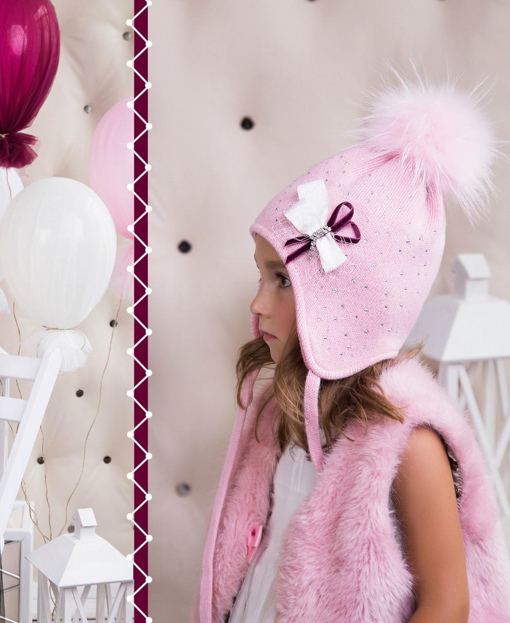 Комплект для девочки с бантиком (шапка/снуд)