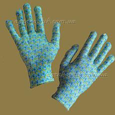 Перчатки женские с рисунком с ПВХ точкой, фото 3