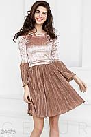 Романтичное платье гофре. Цвет кремово-коричневый.