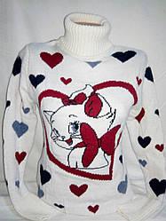Теплый женский свитер с кошечкой