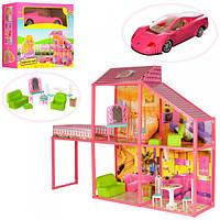 Домик 6981 105-80-23,5см,2этажа,4комн,для куклы29см,мебель,машинк45см,99дет,в кор,55,5-50-25см