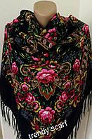 Женский Павлопосадский платок шерстяной. Темно-синий, розовые Цветы и огурцы с шелковой бахрамой 140\140