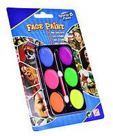 Краски для грима флуоресцентные 6 цв. + кисть