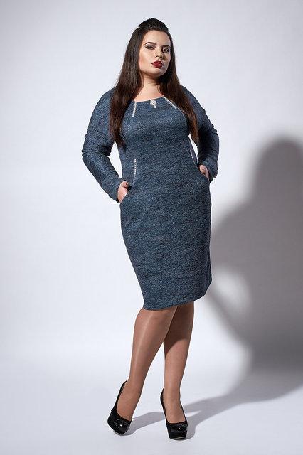 Стильное теплое платье. цвет серо-синий