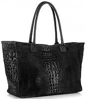 Женская большая итальянская сумка GENUINE LEATHER из натуральной кожи, черного цвета