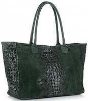 Женская большая итальянская сумка GENUINE LEATHER из натуральной кожи, зеленого цвета