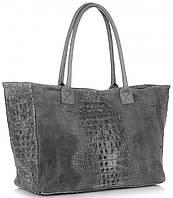 Женская большая итальянская сумка GENUINE LEATHER из натуральной кожи, серого цвета