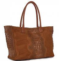 Женская большая итальянская сумка GENUINE LEATHER из натуральной кожи, коричневого цвета