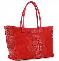 Женская большая итальянская сумка GENUINE LEATHER из натуральной кожи, красного цвета