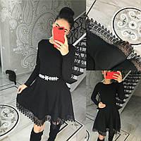 Женское черное платье с длинным рукавом и пышной юбкой,декор кружевом (42-46 р) 22П10436