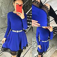 Женское платье синий-электрик с длинным рукавом и пышной юбкой,декор кружевом (42-46 р) 22П10436_1