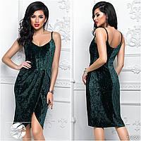 Женское вечернее платье из бархата темно-зеленого цвета без рукава. Модель 16623. Размеры 42-46.