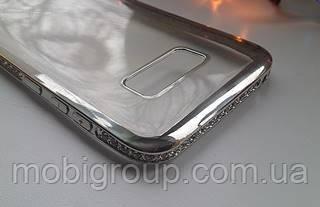 Чехол силиконовый с бампером под металик стразами Samsung S8