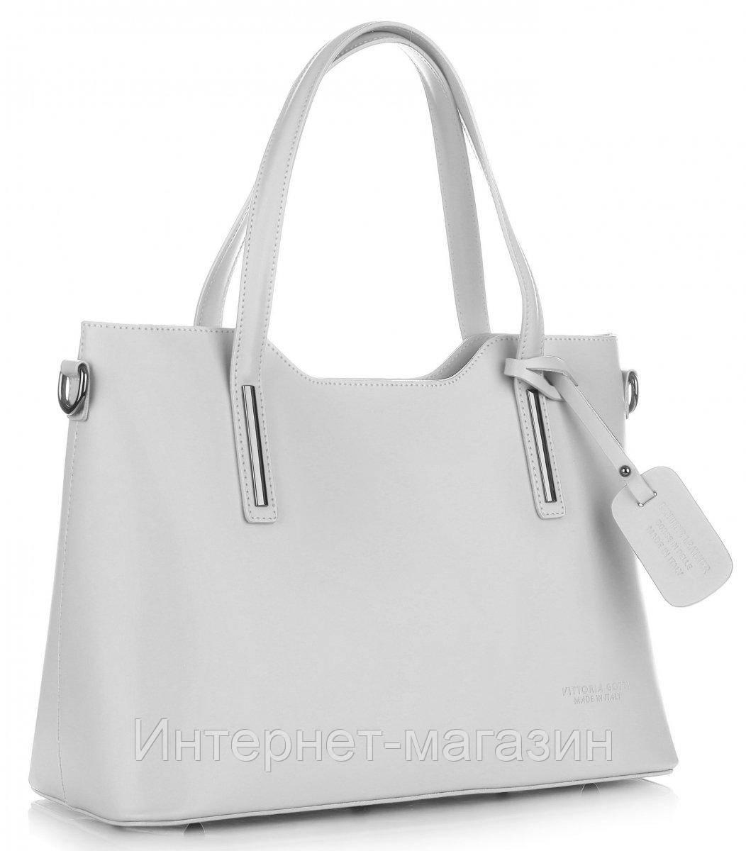 8c5f59e3a79c Женская итальянская сумка VITTORIA GOTTI из натуральной кожи, светло -  серого цвета, цена 3 000 грн., купить в Луцке — Prom.ua (ID#627426395)