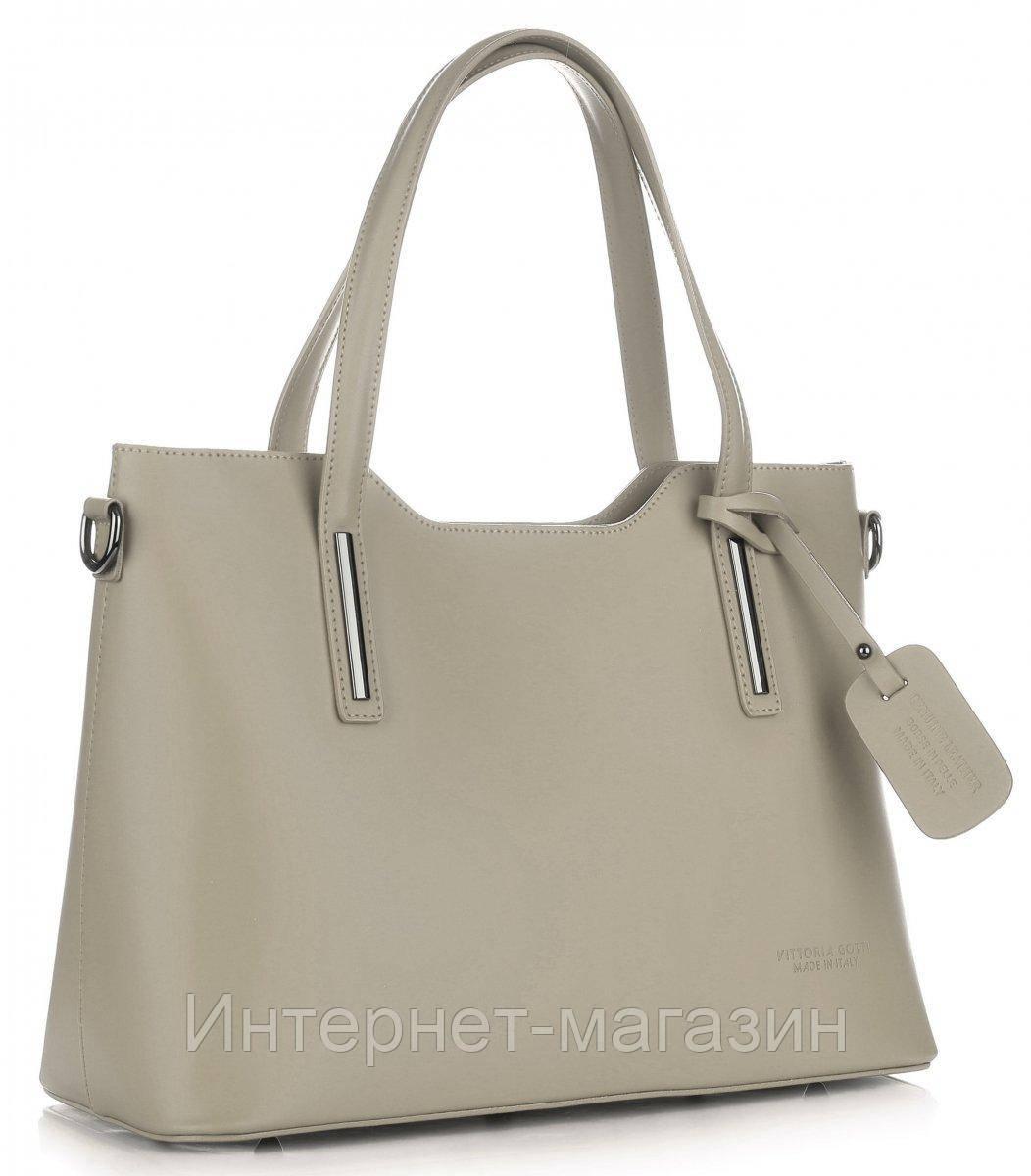 13c494d3bc22 Женская итальянская сумка VITTORIA GOTTI из натуральной кожи, бежевого цвета