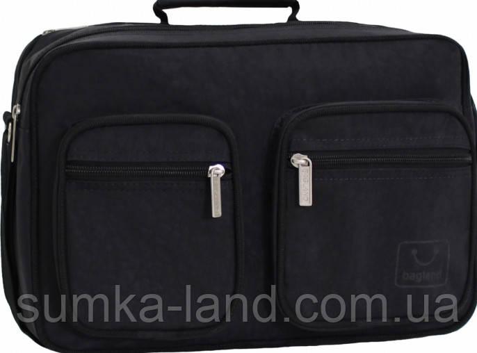 Мужская деловая черная сумка из жатки Bagland Mr.Black 11 л 23*34*14 см