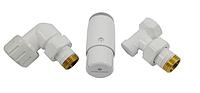 Кран для радиатора отопления Schlosser комплект радиаторный осевой-правый, белый, DN15 GZ 1/2xGW 1/2