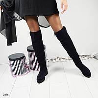 Ботфорты женские замшевые на низком ходу черного цвета