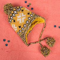 Вязаная детская шапка с завязками на флисе желтая CMF W16-18 01 Yellow