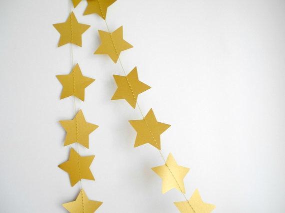 Бумажная гирлянда из звезд, золотая - Завод Декор в Запорожье