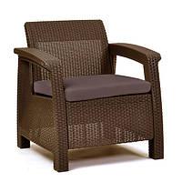 Кресло пластиковое Corfu Duo, коричневое