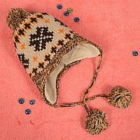 Вязаная детская шапка с завязками на флисе кремовая CMF W16-18 03 Cream