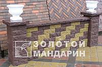 Заборный декоративныйблок 300х300х100 «Золотой мандарин» (двухсторонний скол) горчичный