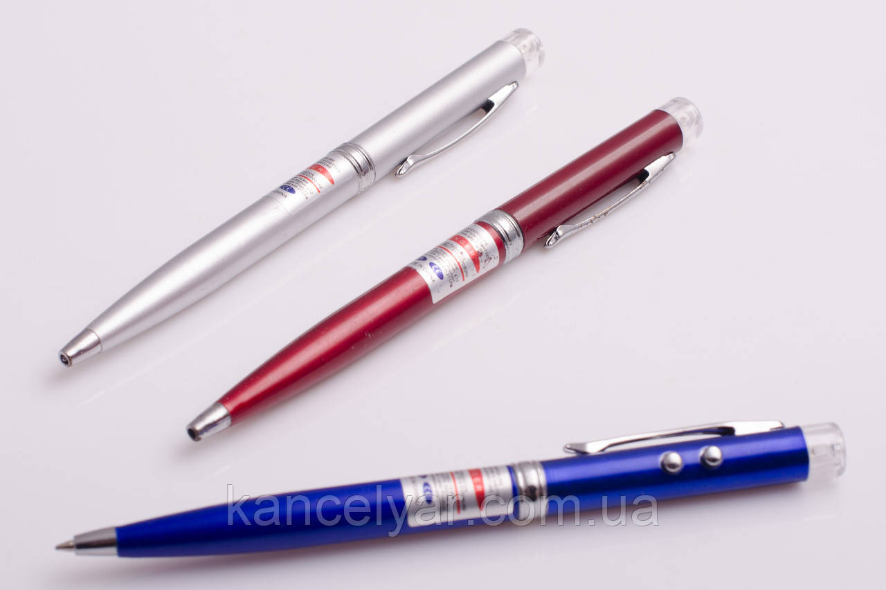 Ручка шариковая, 3 в 1: ручка, фонарик, лазер, в ассортименте