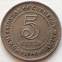 Малайя 5 центов 1950