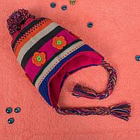 Вязаная детская шапка с завязками на флисе синяя CMF W16-02 03 Blue