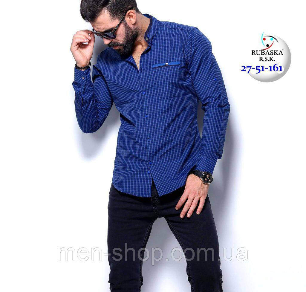 e3672e83208 Стильная тёмно-синяя рубашка в клетку  продажа