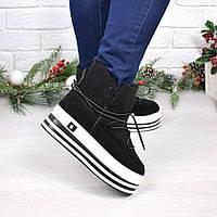 Сникерсы женские Steffy черные ЗИМА, ботинки женские