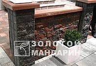 Заборный декоративныйблок 300х300х100 «Золотой мандарин» (двухсторонний скол) серый