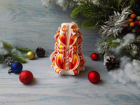 Резная свеча оранжево-белая без декора, фото 2